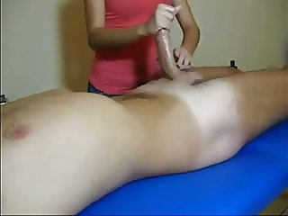 She plays with his penis WF