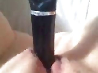 Morning fun with brush inside squirty pussy