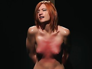 Pretty girl in hard whipping