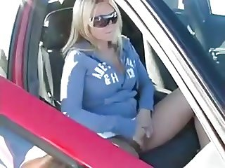 Allison Angel  jilling in car WF