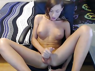 Shemale small tits strokes and cums