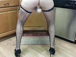 Me squirting in fishnet stockings and stiletto heels