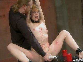 Hot wax treatment for ginger female sex slave
