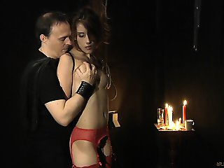 Tina in sexy lingerie exploited by her Master