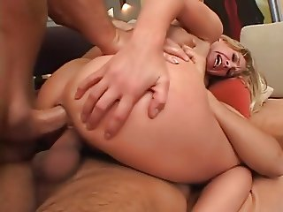 Flat Blonde Painful Anal Threesome
