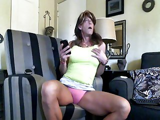 Crossdresser jack off show in front of open window