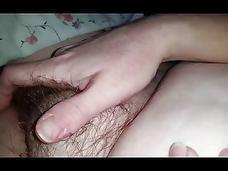 both of us rubbing her soft hairy pussy, nipple