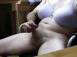 Crossdresser Cumshot Purple Bra