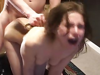 Girl gets a brutal doggy style