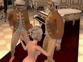 Sexy 3D cartoon blonde babe taking on two hard cocks