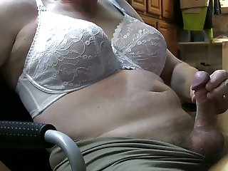 Crossdresser Cumshot White Lace Bra Thermal Panty