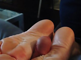 Footjob in two positions with cumshot