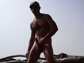 Big Cut Cock Jerking At The Beach
