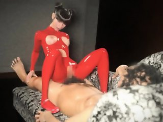 Hentai 3d babe in latex suit rides guys hard cock