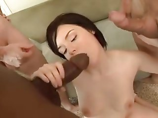 Sexy darkhaired babe gangbang and DP