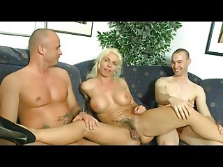 French hot blonde slut takes two hard cocks