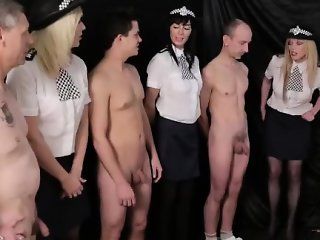 Group handjob by British CFNM girls in uniform
