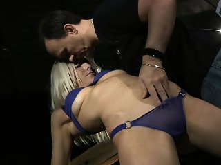 Alena tight tied and made to suck deepthroat