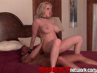 BustyNetwork Big Tits Blonde in Fishnets Rides Huge Cock