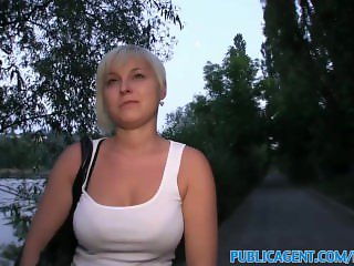 PublicAgent Cute short haired blonde fucked outdoors