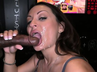 Gloryhole loving brunette gives bj