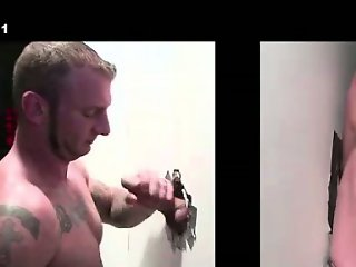 Cumshot for gay dude at gloryhole from straight