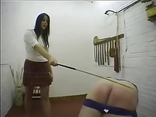 Naughty Schoolboy gets Caned by Hot Female Teacher