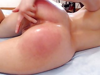 Ass spanked red with squirting
