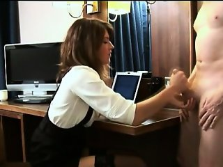 Clothed foot domina gets cumshot
