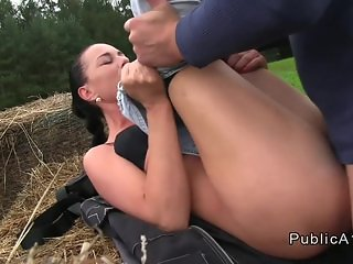 Busty Czech babe banging huge cock outdoor