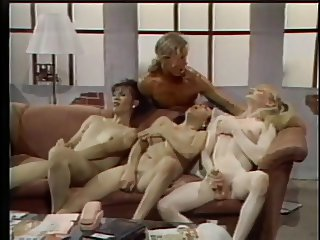 Three tranny sluts jerk off in the couch