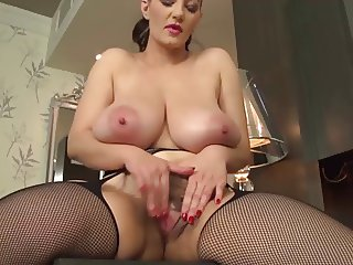 Big boobed babe, nice lips hairy pussy wanks with dido!