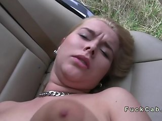 Busty amateur blonde bangs in fake taxi
