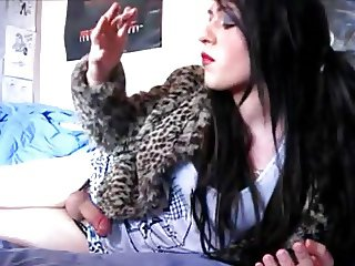Amateur Crossdresser Playing With Her Cock