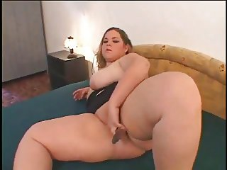 My Cute Fat BBW GF love playing with her shaven Pussy-1