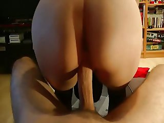 Hot blonde fucked with her panties on