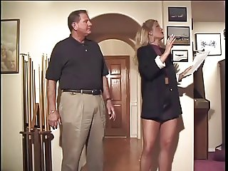 Old Mr Sleazy gets his way to turn on blonde girl on his house and fucked her