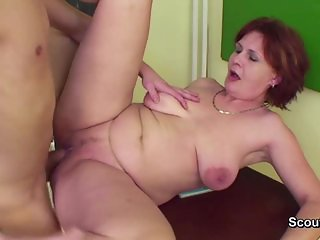 German Milf Teacher show young boy how to get