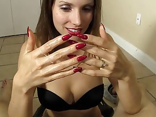 Long Red Nails - Handjob