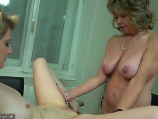 OldNanny lesbian couple crazy mature learn