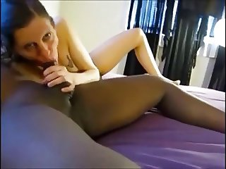 cuckold husband offering to his skinny mature wife to a BBC