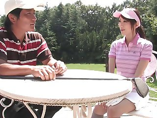 Naughty brunette sucks stud's dick after a game of golf