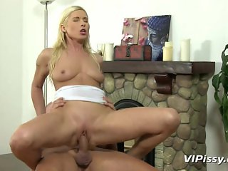 Fucked pussy showered with hot pee