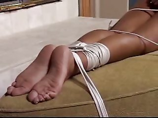 cute nude girl tied to a coach