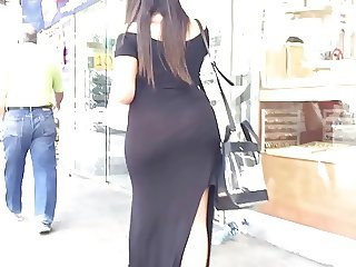 Thick PAWG VPL walking the street in Transparent Black Dress