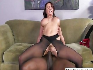 Black cock slut worships her black master