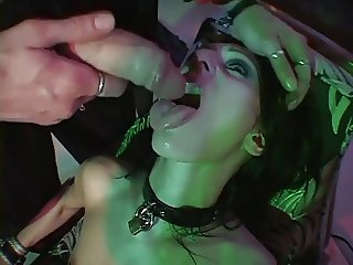 Sexy tight babe drink cum and sucks cock