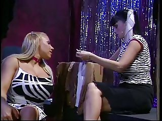 2 horny bitches in pantyhose dancing together
