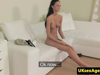 Flexible euro pussyfucked at casting