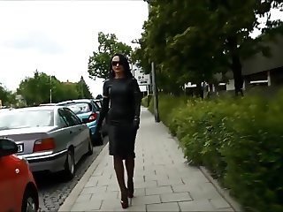Smoking lady in Tight leather skirt